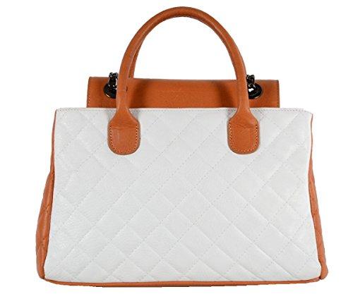 Designer Italienische Tasche Leder Handbag gesteppte Echtledertasche Handtasche Schultertasche City Shopper Kellystyle Italy Tote Bag Weiß Cognac Sand Beige Champagner Kamel (Handtaschen Chanel Leder)