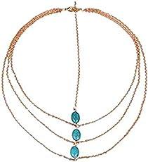 Habors Multistrand Turquoise Studded Hair Chain (JFBOD0121) (Valentine Gift)
