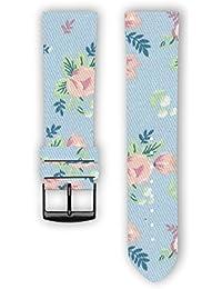 100% algodón con parte trasera de piel diseño: Flores de repuesto correa de reloj–correa de reloj para Samsung Gear S3–Apple reloj inteligente–relojes–conectado relojes–relojes convencionales. Fabricado en Francia