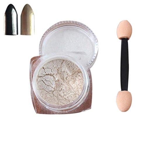 Nail Mirror Powder,Transer ® 2g / boîte Sliver Nail Glitter poudre Shinning ongles miroir maquillage Art bricolage Chrome Pigment de la poudre(Jaune)