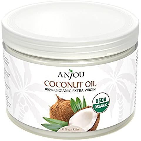 Anjou Aceite De Coco Virgen Extra Orgánica, Prensado En Frío Sin Refinar, USDA Certificado - 11oz / 325ml