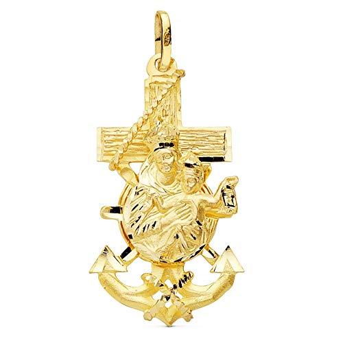 Colgante Oro 18K Cruz Marinera 35mm. Virgen Del Carmen Detalles Tallados