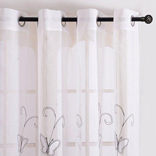 Top finel ricamato farfalla voile tenda con occhielli pura parete porta finestra balcone,140 x 260 cm, 1 pezzo, bianco