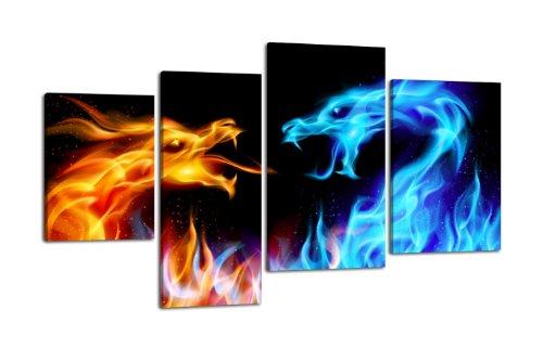 Leinwandbild Feuerdrachen LW353 Wandbild, Bild auf Leinwand, 4 Teile, 180x115cm, Kunstdruck Canvas, XXL Bilder, Keilrahmenbild, fertig aufgespannt, Bild, Holzrahmen, Abstrakt, Asia, Drache