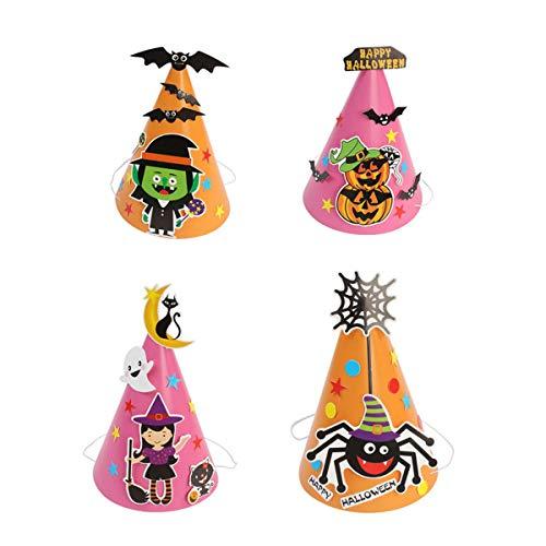 BESTOYARD 4 STÜCKE Cartoon Halloween Papier Hut Handwerk Caps DIY Handgemachte Maskerade Party Kleid Liefert für Kinder Kinder (Rosa Gelb)