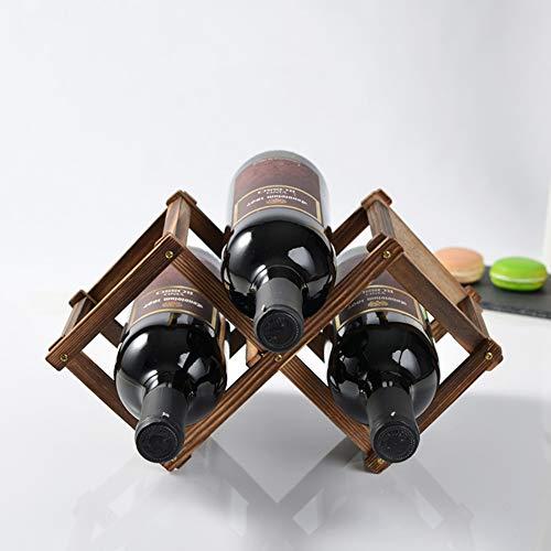 D&LE 3 Flaschen Wooden Weinständer,Frei stehend Arbeitsplatte Weinhalter Vintage Dekoration Flaschenhalter-braun 3 Flaschen -