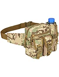 Ocamo Men Travel Waist Bag Waist Pack Pouch With Water Bottle Holder Waterproof 800D Nylon Belt Bum Bag
