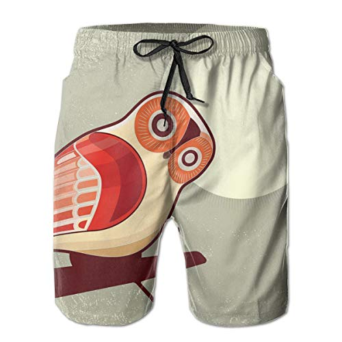 MIOMIOK Mens Beach Shorts Swim Trunks,Full Moon Night with Nocturnal Large Eyed Animal On The Tree Branch Caricature Image,Summer Cool Quick Dry Board Shorts Bathing Suit XL - White Eyed Ducks