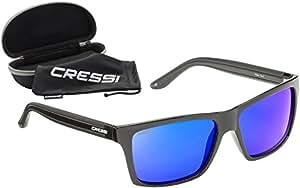 Cressi Rio Occhiali Sportivi da Sole, Lenti Polarizzate/Anti UV 100%, Nero/Lente Blu