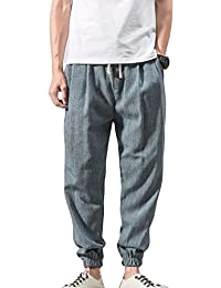 Pantalones de lino ocasionales de los hombres Pantalones de cintura elásticos ligeros con los bolsillos GRHn8pGf3F