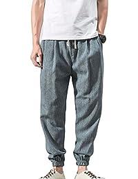 Pantalones de lino ocasionales de los hombres Pantalones de cintura elásticos ligeros con los bolsillos