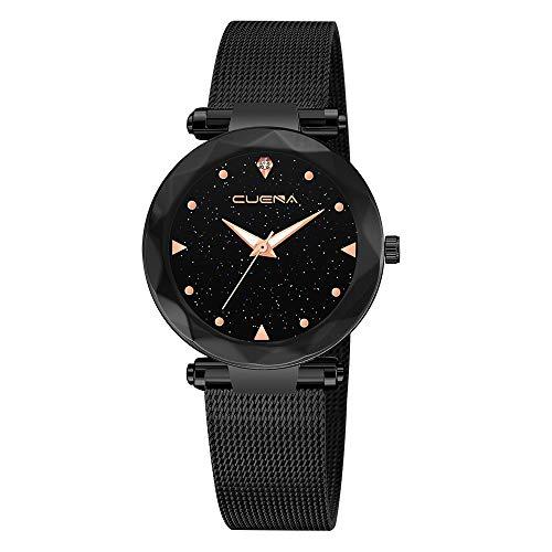 VECOLE Armbanduhr Frauen Starfish Drill Zifferblatt Lederarmbanduhr Mode einfache Quarz Analoganzeige Uhr(Schwarz-1)