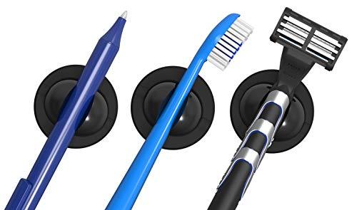 Schneider Klick-Fix Universalhalter (Selbstklebende Halterung für z.B. Zahnbürsten, Rasierer, Kabel, Stifte uvm. bis max. 150g) 3er Set schwarz