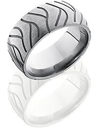 Titanium, Satin Finish Cycle Engraved Wedding Band Sandblasted Accents (sz H to Z1)
