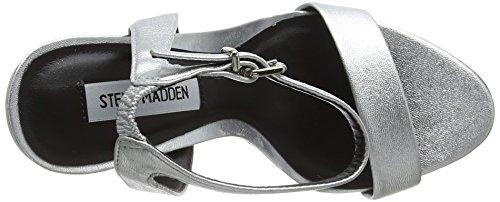 Steve Madden Damen Landen High Heel Sandal Riemchensandalen Silberfarben