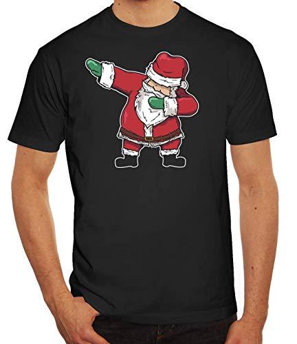 Dab Floss Emote Gamer Weihnachts Herren Männer T-Shirt Rundhals Dabbing Santa Claus, Größe: M,schwarz