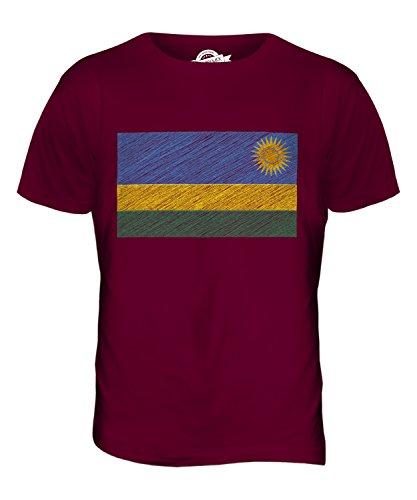 CandyMix Ruanda Kritzelte Flagge Herren T Shirt Burgunderrot