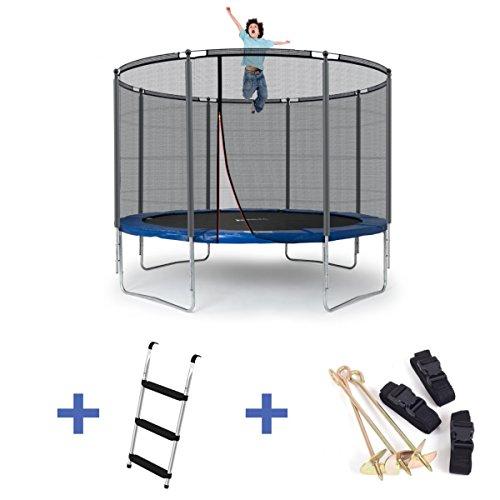 Ampel 24 Outdoor Trampolin 305 cm blau mit verstärktem Netz & Sicherheitsring | Gartentrampolin mit Leiter & Windsicherung | Sicherheitsnetz 8 gepolsterte Stangen | Belastbarkeit 150 kg