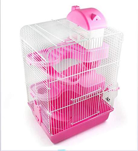 Yinmiaomiao Kit di Storyter per Critters/Gerbil / Piccoli Animali con Accessori/Accessori- Bottiglia d'Acqua, Scale A Pioli, Ruota, Gabbia per Criceti Habitat,Pink