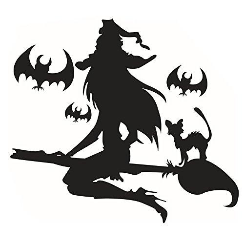 Amazingdeal365 Umwelt Lustige Halloween Charme entfernbare Wand Aufkleber MIt Vielfalt (Mädchen Kostüm Hex)