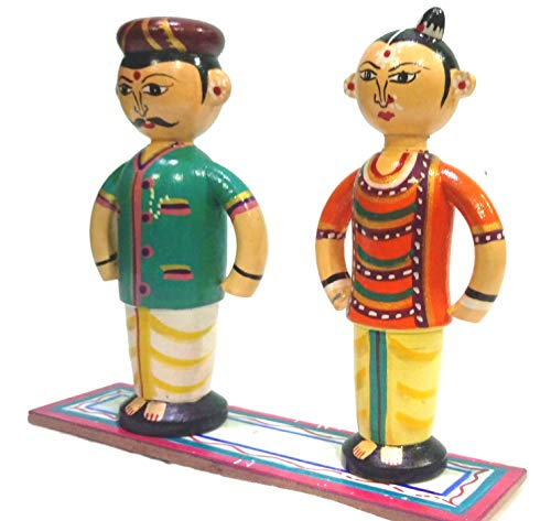 Crafts-India-Handcrafted-Wooden-Malayalee-Couple-14-cms