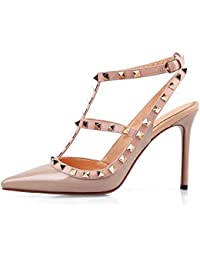 f8aa20ab34b68 Caitlin Pan Women Fashion High Heel Pointed Toe Ankle Straps Studs Stiletto  Heeled Sandals Studded Party Dress…