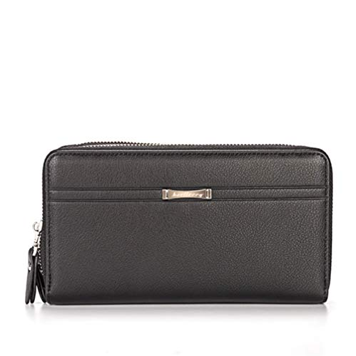 Men Wallet Leather Clutch Bags Long Purse Large Capacity Handbag with Double Zip Around and Handle Multi Card Slots for Credit ID Card Driver License Money Cash Fit Ipad IPhone 6/6 Plus Black HG10
