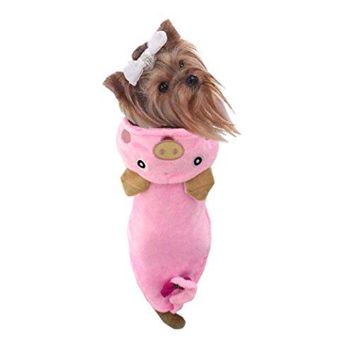 is Haustier Hund Katze Warme Pullover Kleidung Kleine Hundchen Mantel Rosa Schwein Hund Pet Cosplay Dicke Kostüm Kleidung Bequem (S, Rosa) (Halloween-kostüme Für Mops Hunde)