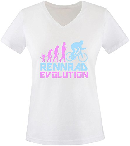 EZYshirt® Rennrad Evolution Damen V-Neck T-Shirt Weiss/Rosa/Hellbl