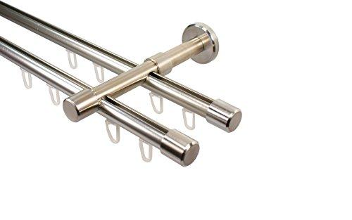 gardinenstangen innenlauf Edelstahl Optik Innenlauf Gardinenstange 2-läufig 16 mm mit Endstück Kappe, 280 cm (2 x 140 cm)