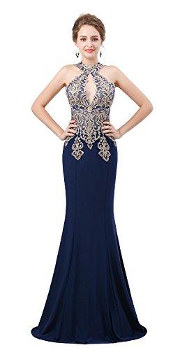 Dressylady Damen Ausschnitt Schlüsselloch wulstige Applique Lange Nixe-Abschlussball-Abend-Kleid 16 Navy blau (Formale Junior Kleider)