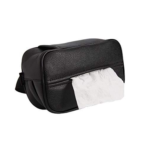 BLUEDYYY PU-Leder Tissue Box Cover für Auto-Haus Büro-Auto-Gewebe-Halter-Masken-Serviettenhalter Auto-Masken-Gewebe-Halter-Rücksitz-Gewebe-Kasten-Halter,Schwarz (Schwarzer Gewebe-kasten-halter)