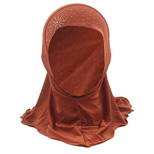 SEWORLD Kind Moslemischer Hijab Islamischer Fester Weicher Schal-Kopf Schält Kappe Kind Muslim Stretch Turban Hut Chemo Cap Haar Kopf Schal Kopf wickeln Duschhaube Mütze(Orange)