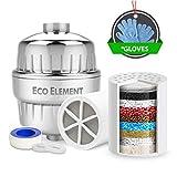 Eco Element 2nd Generacion Filtro de ducha mejorado. Diseñado para aumentar el pH y el ORP. Elimina cloro, cloramina, flúor y productos químicos duros. Set completo de filtración de ducha. Configuración fácil. 100% reciclable.