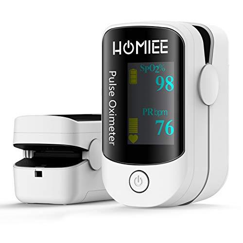 HOMIEE Pulsoximeter,Blutsauerstoffsättigungsmonitor SpO2-Oximeter mit Alarm, automatischer Schlaffunktion, OLED Display in vier Richtungen, Silikonetui, Tragetasche, Batterie und Schlüsselband