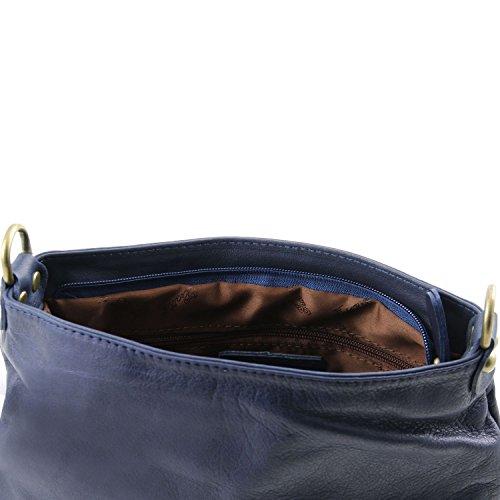 Tuscany Leather TL Bag Borsa morbida a tracolla con nappa Blu scuro