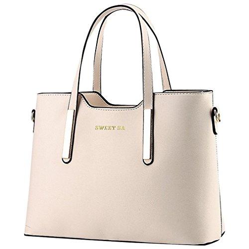 Kadcope Sacchetto di spalla di lusso del sacchetto di spalla della borsa di cuoio di Pu Beige