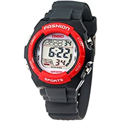 Time100 Kids' Digital Timing Multifunctional Dark Grey Strap Sport Electronic Watch #W40011L.05A