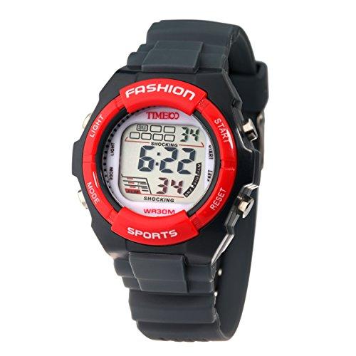 Time100 Orologio bambino silicone LCD sport, sportivo, display digitale, multifunzionale, nero- rosso#W40011L.05A