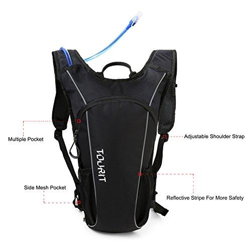 TOURIT Ultra Leichtgewichtige Trinkrucksack mit 2L Trinkblase geeignet zum Camping Laufen, Wandern, Klettern, Fahrradfahren, Schwarz - 3