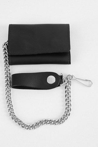 Portafoglio Trifold Nero in Pelle con Catena Biker Custom