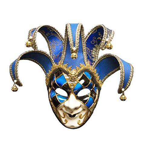 ZHANGXLMM Halloween Party Weihnachten Maskerade Maske Italien Venedig Full Face Anti-Antike Clown König Maske,Blue