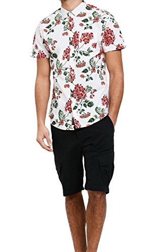 Threadbare Herren Blusen Freizeit-Hemd, Geblümt blau blau Gr. Größe-S-91 cm- 97 cm Brust, Selleck - Floral White (New Herren Shirt Hawaiian Baumwolle)