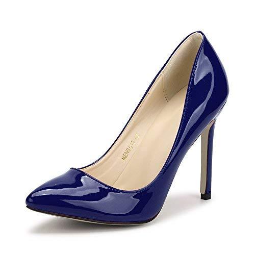 OHENTA Damen Sexy Pomp PU Spitze Spitze Absatz Hohe Schuhe, 6198 Ice Blue - Größe: 40 EU -