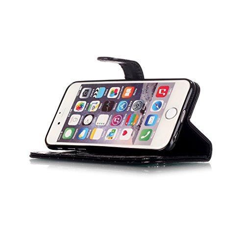 iPhone 6 Hülle, iPhone 6S Ledertasche - Felfy Flip Style Luxe Bookstyle Tasche Case Kasten 3D Reliefdruck Stilvolle Kreismuster Muster Design Muster Premium Tasche Geldbeutel Folio PU Leder Mappen Mag Krokodil Schwarz