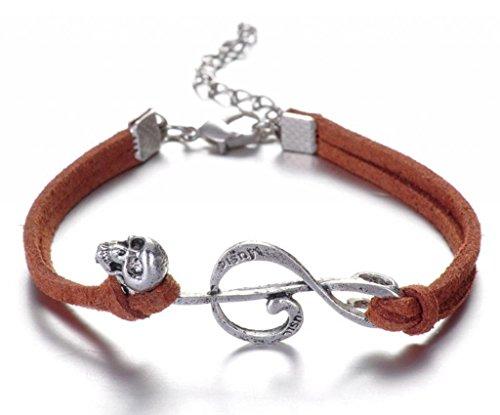 Infinite U (Achetez 1 obtenez 2)Note de Musique et Crâne Cordon en Cuir Artificiel Les Petites Femmes Bracelet/Bangle-6 Couleurs Options Marron
