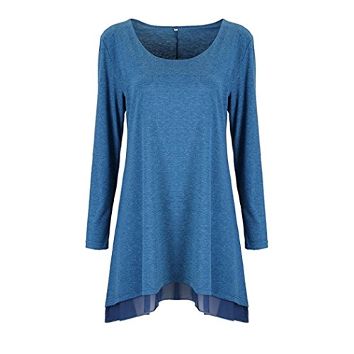 Damen Kleid FORH Frauen Vintage Langarm Pullover Sweatshirt Bluse Minikleid Casual Loose Fit Sweatkleid Mode Kurz Bodycon Cocktail Partykleid Abendkleid Clubwear MiniKleid Tops (Blau, S) (Top-scrunch)