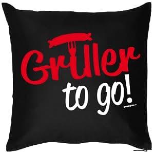 Auffälliger Kissenbezug : Griller to GO in schwarz, auch super als Geschenk!