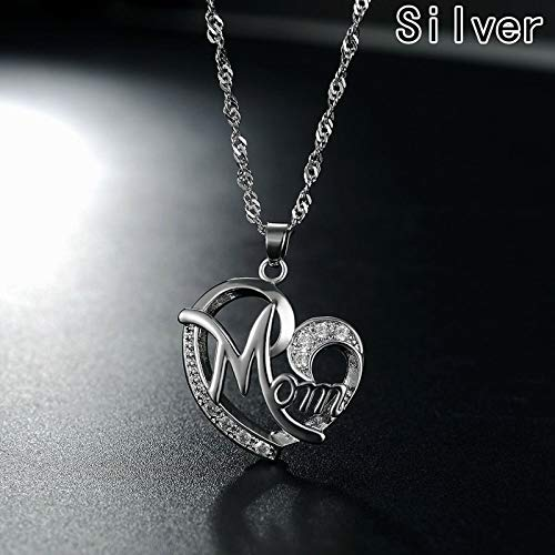 r Geschenk Große Mutter Anhänger Halskette Versilbert Schmuck Weihnachtsgeschenk Für Mutter Mutter Buchstaben Herz Anhänger Großhandel ()
