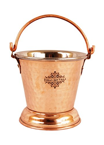 IndianArtVilla Handmade Steel Copper Bucket with handle | Capacity 300 ML | Serving Indian Food Dal curry | Home Hotel Restaurant